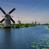 Water and windmills make up much of Kinderdijk in South Holland, the Netherlands. Flickr:norbert reimer