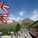Bernina Pass Express train stop in Switzerland. Flickr:Elliott Brown