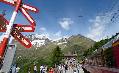 Bernina Pass Express train stop in Switzerland. Flickr:Elliott Brown