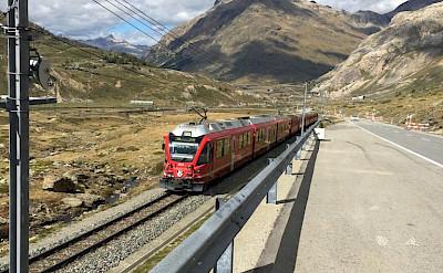 Train through the Bernina Pass in Switzerland. Photo via TO