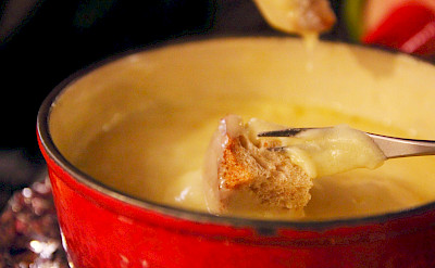 Cheese fondue is a favorite Switzerland meal. Flickr:t-mizo