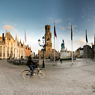 Biking Bruges' famous square with all its eye-candy. Flickr:Panoramas