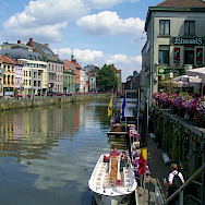 Ghent lies at the confluence of the Leie and Scheldt Rivers in Belgium. Wikimedia Commons:gregd1957