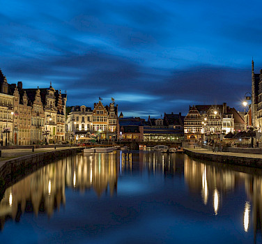 View of the Graslei from Sint Michielshelling in Ghent, Belgium. Flickr:Jiuguang Wang