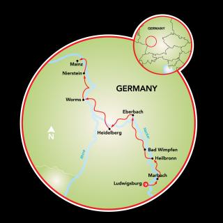 Ludwigsburg to Mainz Map
