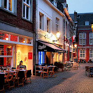 Quiet cafe street in Maastricht, Limburg, the Netherlands. Flickr:Jorge Franganillo