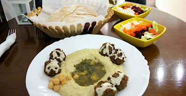 Falafel and hummus in Ohrid, Macedonia. Flickr:Charlie Marchant