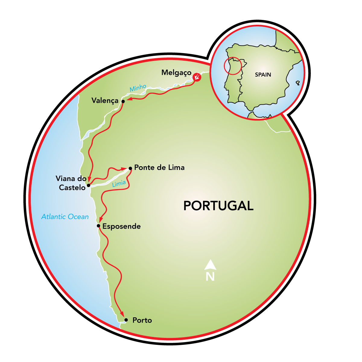 Map Of Northern Portugal And Spain.North Portugal Bike Tour Portugal Tripsite