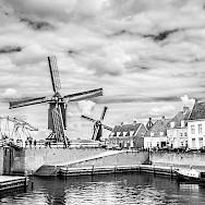 Black & white of Heusden in North Brabant, the Netherlands. Flickr:Johan Wieland