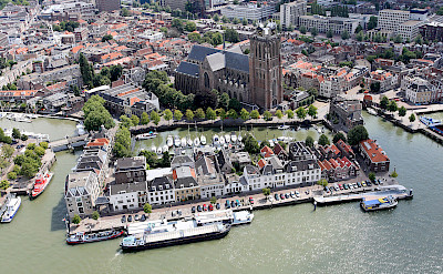Aerial of Dordrecht, South Holland, the Netherlands. Wikimedia Commons:Joop van Houdt