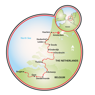 Tulip Tour - Amsterdam to Bruges - 9 day Map