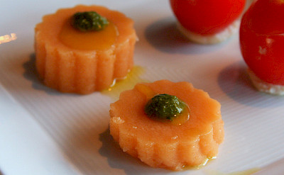 Tomato Jelly with Basil Pesto at Vino & Olio
