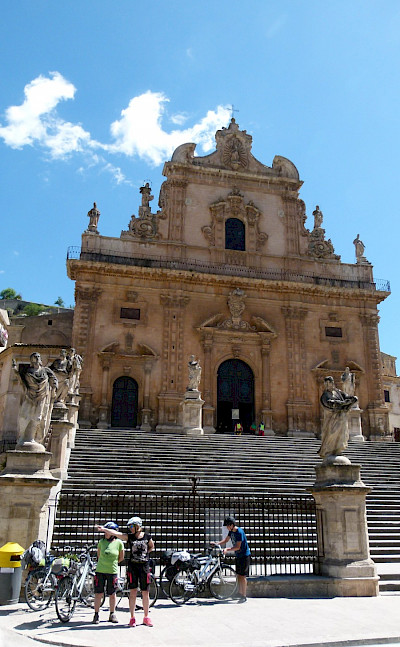 Bike rest by Cathedral San Pietro in Modica, Sicily, Italy. Photo via TO