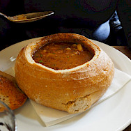 Yummy bread bowl soup in Czech Republic. Flickr:Sago1965