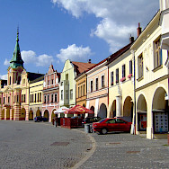 Peach Square in Melnik, Czech Republic. Wikimedia Commons:Leonce49