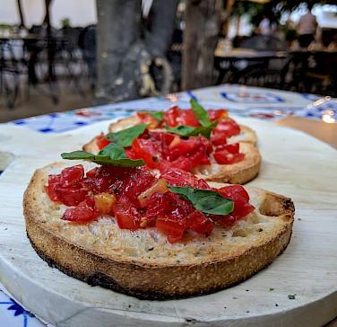 Tomato bruschetta to fuel the bike ride in Puglia, Italy. Flickr:Nick Amoscato