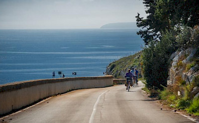 Cycling along the coast in Puglia.