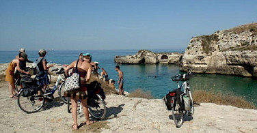Stopping for a swim on the Puglia - Heel of Italy tour.