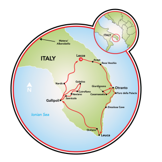 Heel of Italy - a Luxury Food and Wine Cycling Tour Map