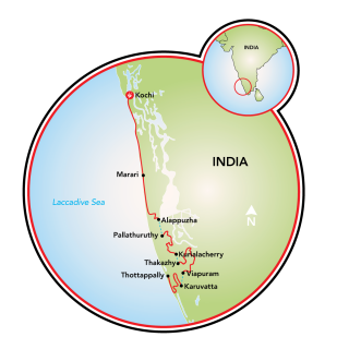 Kerala, India, Bike and Boat Map