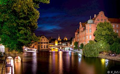 City is aglow at night. Strasbourg, Alsace, France. Flickr:Caroline Alexandre
