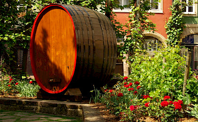 Huge wine cask in Strasbourg lays claim to what it's know for. Flickr:Dave Shafer