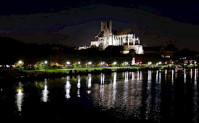 Yonne River in Auxerre with Cathédrale Saint-Etienne in France. Flickr:Allie_Caulfield