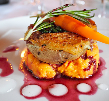 Sweet potato two ways with carrot and sage red wine reduction, Burgundy, France. Flickr:Lily H