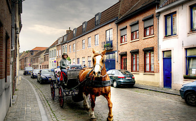 Horse-drawn carriage in Bruges, Belgium. Flickr:Wolfgang Staudt