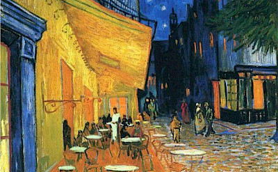 Cafe Terrace at Night, Arles, France by Van Gogh 1888.