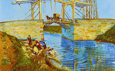 """Langlois Bridge in Arles with Women Washing"" painted by Van Gogh in 1888."