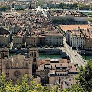 Biking through Lyon, France where the rivers Rhône and Saône meet. Flickr:Sandrine Neel