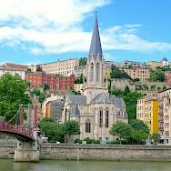 Saône River views of Église Saint-Georges in Lyon, France. Flickr:Torbahopper