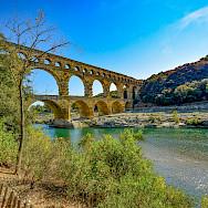 Pont du Gard, the ancient Roman aqueduct, over the Gardon River, near Vers-Pont-du-Gard, France. Photo via TO