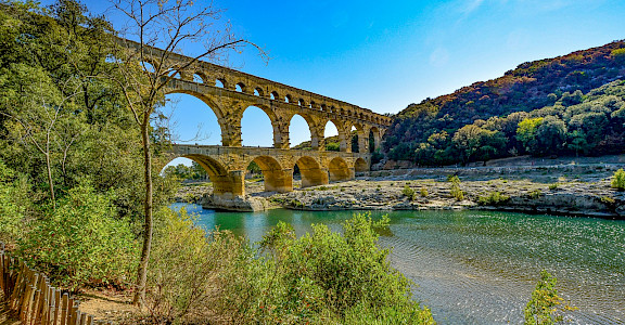 Pont du Gard, the ancient Roman aqueduct, over the Gardon River, near Vers-Pont-du-Gard, France. Photo via TO