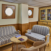 Libarary and sitting area aboard the Provence