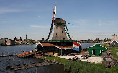 Working windmill at the Zaanse Schans, Zaandam, the Netherlands. Flickr:Peter Visser