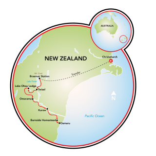 New Zealand Alps to the Ocean Bike Route Map