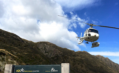 Helicopter ride is included in the New Zealand Alps to Ocean Bike Tour.