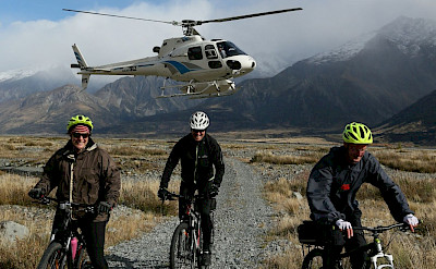 Helicopter ride drop-off to start our adventure on the New Zealand Alps to Ocean Bike Tour.
