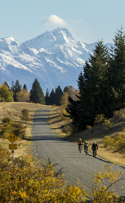 Scenic backdrops on the New Zealand Alps to Ocean Bike Tour.