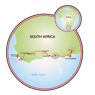 Bike and Safari South Africa's Garden Route to Cape Town Map