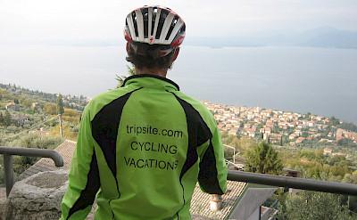 Hennie on a foggy day at Lake Garda, Italy.