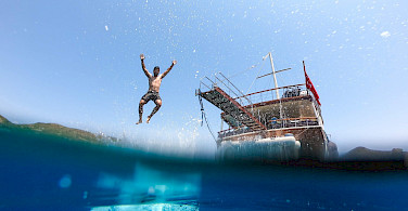 Swimming of course on this great multi-adventure tour in Greece! Photo via TO