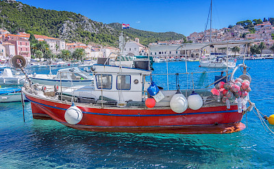 Boat in harbor on Hvar Island, Dalmatia, Croatia. Flickr:Arnie Papp