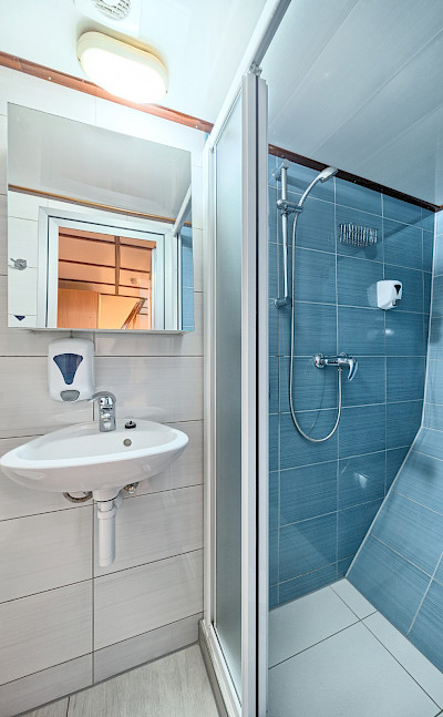 Tiled bathroom on Pape Privi Ship - Dalmatia Croatia Bike & Boat Tours