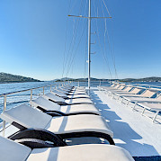 Sun deck on Pape Privi Ship - Dalmatia Croatia Bike Tour