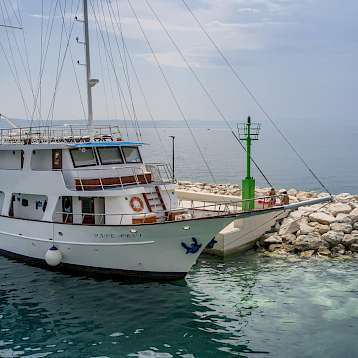 Pape Prvi - Pape Prvi moored and waiting for you for Bike & Boat Tour in Southern Dalmatia, Croatia.