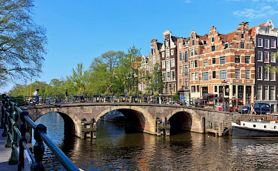 Many canals in Amsterdam.