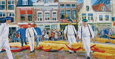 Great painting of the famous cheese market in Alkmaar, North Holland, the Netherlands.